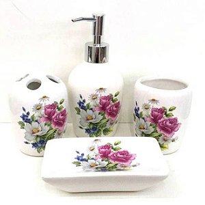 Jogo de Banheiro em ceramica - Arranjo Floral - com 4pc - Ref.301 - Susan