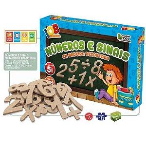 Jogo Pedagogico - Brinquedo Educativo - Numeros e sinais em madeira - Matematica -112 pecas - IOB Madeira - Ref 162