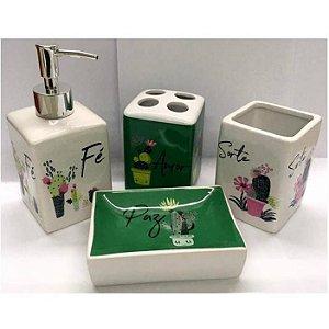 Jogo de Banheiro em ceramica - Sorte Fe Amor Paz - com 4pc - Ref 393 - Susan