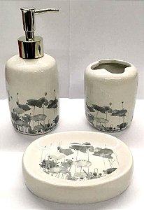 Jogo de Banheiro em ceramica - Aquarela - com 3pc - Ref LQ307 - Susan