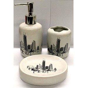 Jogo de Banheiro em ceramica - Metropole - com 3pc - Ref LQ307 - Susan
