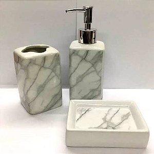 Jogo de Banheiro em ceramica - Marmore dosador Prateado - com 3pc - Ref LQ306 - Susan