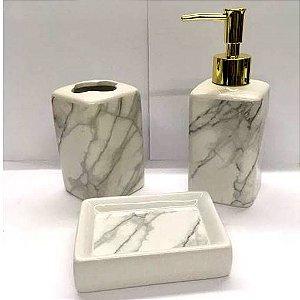 Jogo de Banheiro em ceramica - Marmore dosador Dourado - com 3pc - Ref LQ306 - Susan