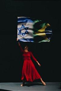 BANDEIRA PARA MINISTRAÇÃO - BRASIL E ISRAEL 100x140cm