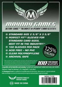 """Sleeves Mayday """"Almost-A-Penny"""" Card Sleeves (2 5/8 x 3 5/8in) - Standard Protection (Com 100 protetores de cartas)"""