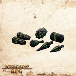 Poly Hero Dice - Black & Goblin Green