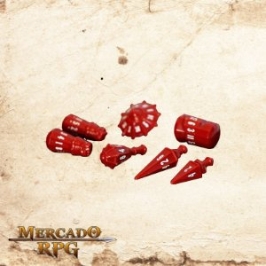 Poly Hero Dice - Crimson & Bone White
