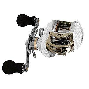 Carretilha Albatroz Fishing Krait Branco Carbono 6.3:1 10 Rolamentos