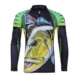 Camiseta de Pesca King KFF107 Tucunaré Proteção Solar UV 50+