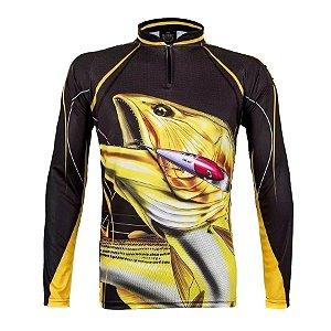 Camiseta de Pesca King KFF202 Dourado Proteção Solar UV 50+
