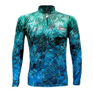 Camiseta de Pesca King KFF633 Esqueletos Proteção Solar UV 50+