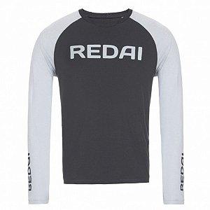 Camiseta de Pesca Redai Perfomance Raglan Cinza Escuro