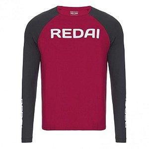 Camiseta de Pesca Redai Perfomance Raglan Vermelha