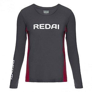 Camiseta de Pesca Feminina Redai Perfomance Team Cinza