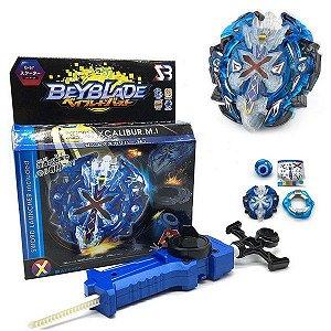 Beyblade Burst Xeno Xcalibur blue b-67  Com Lançador Grip *