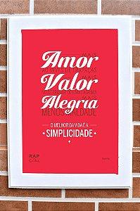 """Quadro """"Amor, Valor e Alegria"""""""