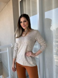 Blusa Tricô Margarete Areia