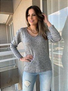 Blusa Tricô Margarete Cinza
