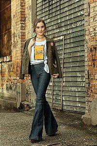 Calça Jeans Flare Fenda