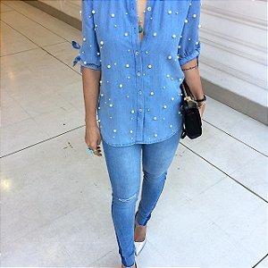 Camisa Jeans Pérolas