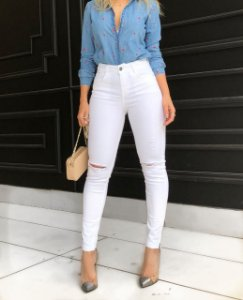 Calça Skinny Branca Tess