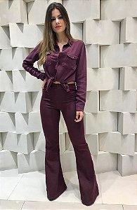 Calça Flare em Malha Jeans Thamires