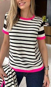 T-shirt em Tricô Pink