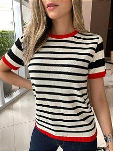 T-shirt em Tricô Vermelho