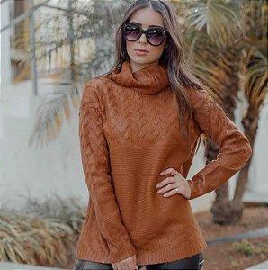 Blusa de Tricô Resinado Sara - Caramelo