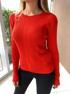 Blusa Tricô Canelado Mariana Vermelha