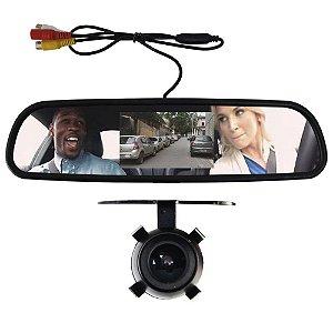 Kit Monitor Lcd Espelho Retrovisor Tela 4.3 Polegadas Camera Dianteira Ré Estacionamento Ray X Universal