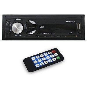 Mp3 Player Automotivo E-Tech Light Bluetooth Usb Sd Aux Rádio Fm Rca Equalizador