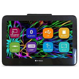Encosto Cabeça Acoplar E-Tech Mp5 Tela 8 Polegadas Monitor Espelhamento Android IOS Bluetooth Usb Sd Card Universal