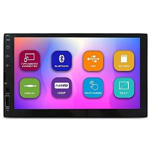 Mp5 Player Automotivo 2 Din 7 Polegadas E-Tech Light Bluetooth Espelhamento Android IOS Usb Fm Full Hd Comando Volante