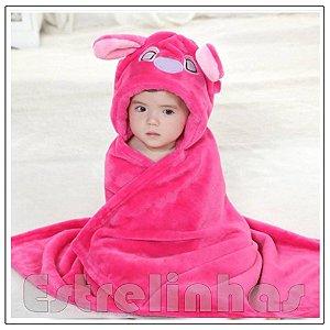 Cobertor c/ Capuz - Bichinho Rosa