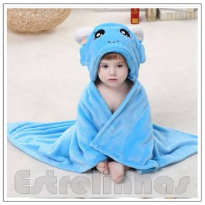 Cobertor c/ Capuz - Bichinho Azul