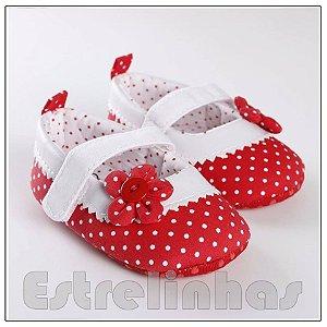 Sapatinho Vermelho&Branco com bolinhas e Flor