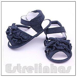 Sandália Jeans com Babadinho e Laço