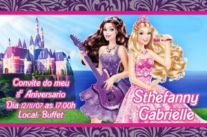 Convite digital personalizado da Barbie 014