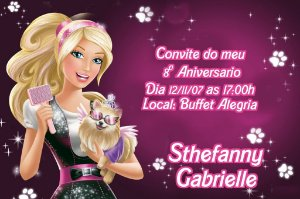 Convite digital personalizado da Barbie 023