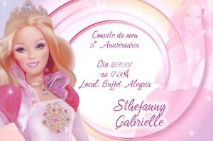 Convite digital personalizado da Barbie 025