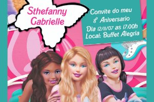 Convite digital personalizado da Barbie 028