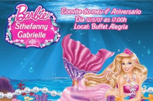 Convite digital personalizado da Barbie 033