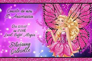 Convite digital personalizado da Barbie 034