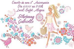 Convite digital personalizado da Barbie 035