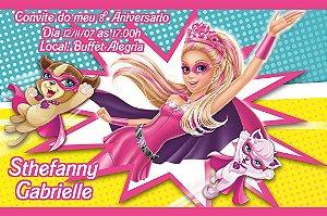Convite digital personalizado da Barbie 045