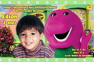 Convite digital personalizado do Barney 001