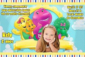 Convite digital personalizado do Barney 004