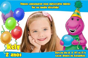 Convite digital personalizado do Barney 006