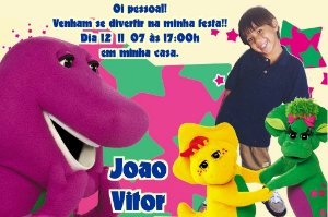 Convite digital personalizado do Barney 008
